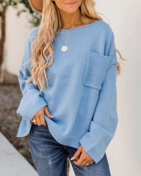 Long Sleeve Pocket Design Casual Sweater