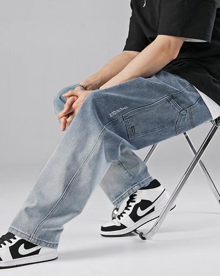Gradient Loose Straight Leg Denim Pants