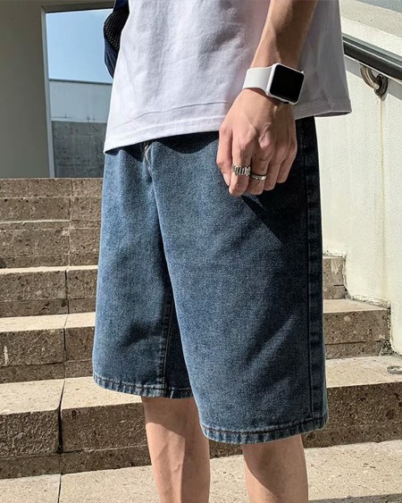 Solid Loose Wide Leg Denim Shorts