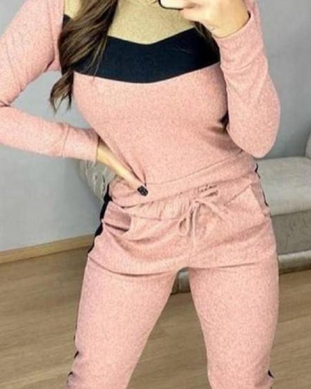 Colorblock Hooded Long Sleeve Tee & Drawstring Pocket Pants Set
