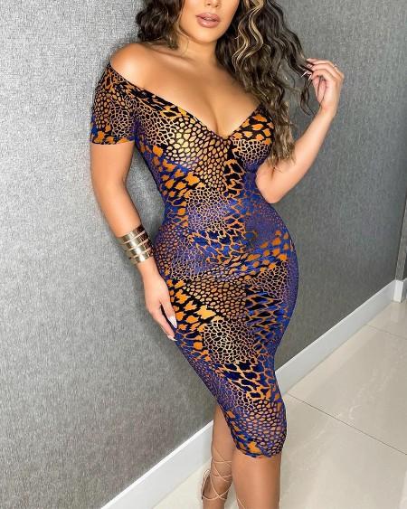 Snakeskin Print V-Neck Bodycon Dress