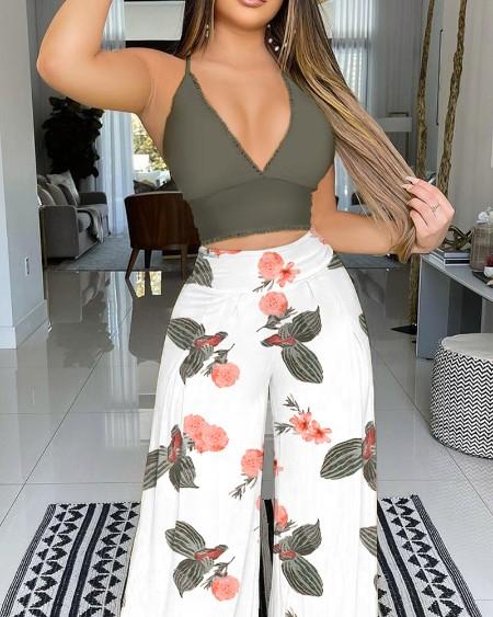 Guipure Patchwork Cami Top & Wide Leg Floral Print Pants Set