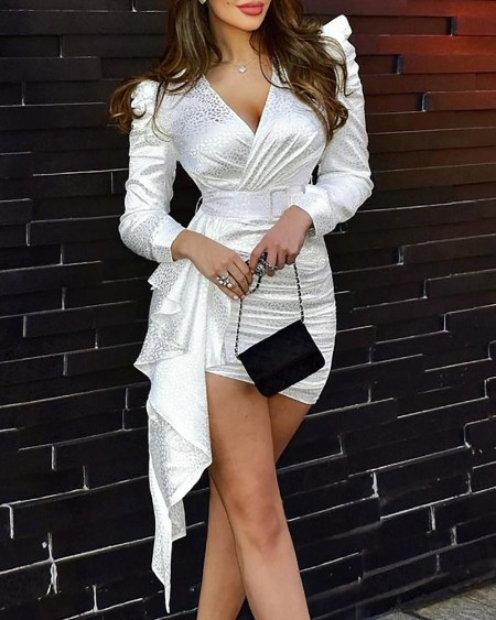Colorblock Puff Sleeve Ruffle Hem Party Ruched Dress Long Sleeve V-neck Bodycon Dress
