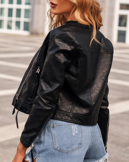 Plus Size Zipper Design PU Leather Long Sleeve Jacket