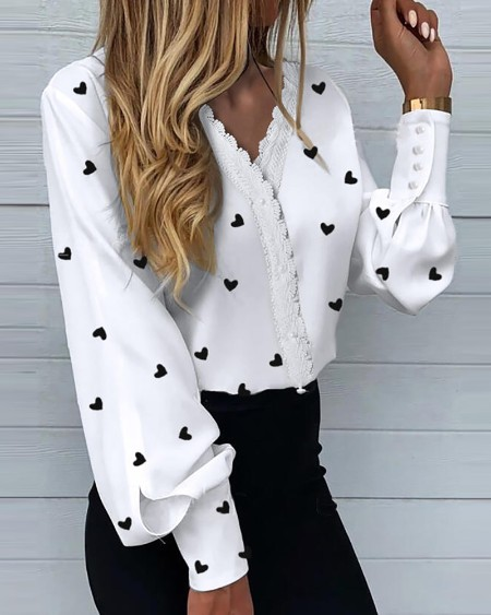 Heart Print Lantern Sleeve Shirt
