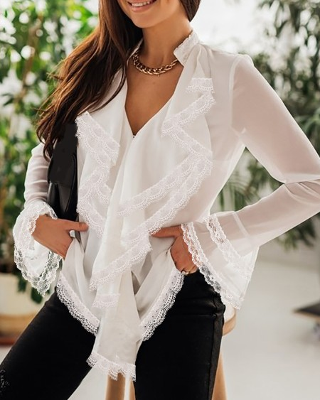 Lace Trim Ruffles Bell Sleeve Top