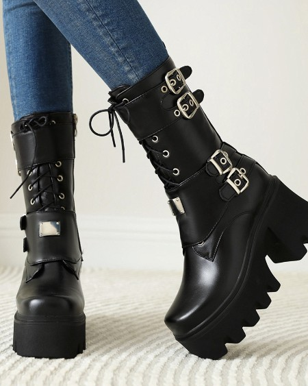 Square Toe Lace-up Double-covered Platform Motorcycle Boots