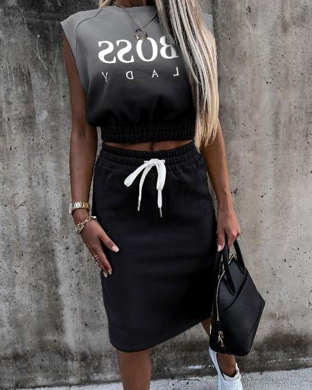 Gradient Color Letter Print  Sleeveless Top & Drawstring Skirt Set