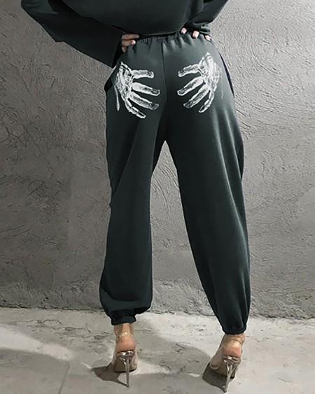 Hands Print High Waist Pocket Design Pants
