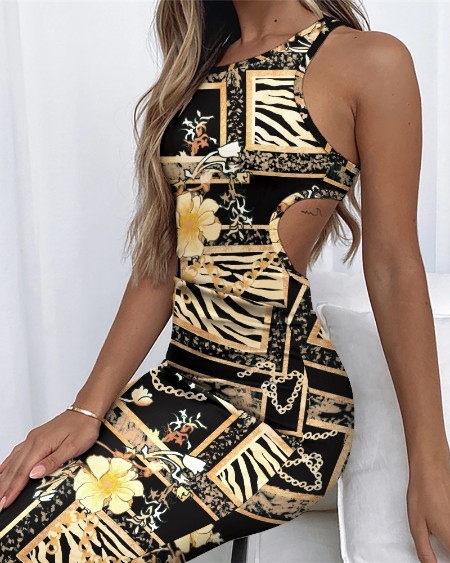 Floral Chain Print Cut-out Open Back Sleeveless Bodycon Dress