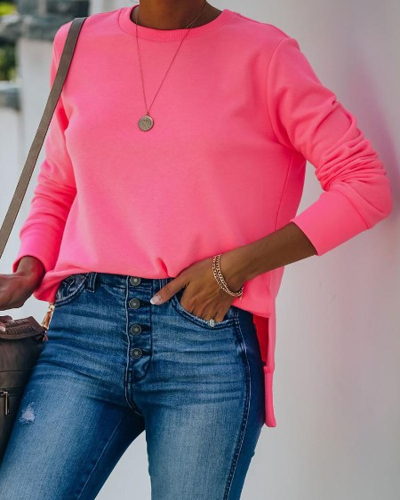 Solid Color Long Sleeve Sweatshirt