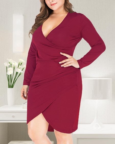 Plus Size Surplice Neck Long Sleeve Bodycon Dress