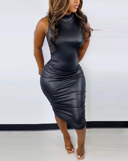 PU Leather Sleeveless Ruched Skinny Dress