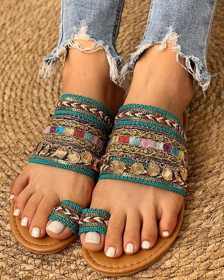 Ethnic Boho Style Toe Ring Sandals