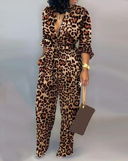 Cheetah Print Long Sleeve Pocket Design Jumpsuit