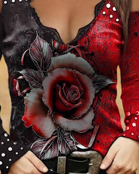 Cold Print Floral / Studded Print V Neck Top