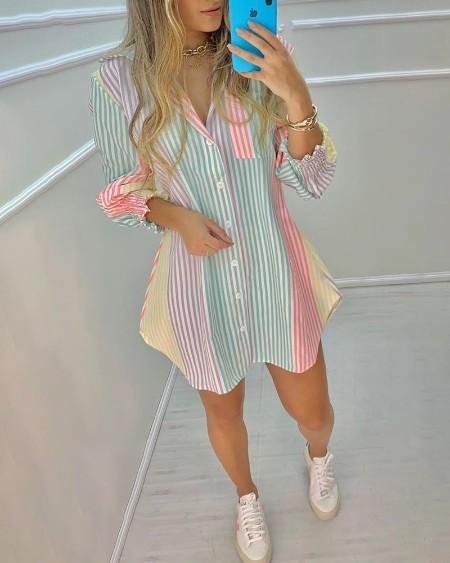 Color Striped Button Front Blouse Dress