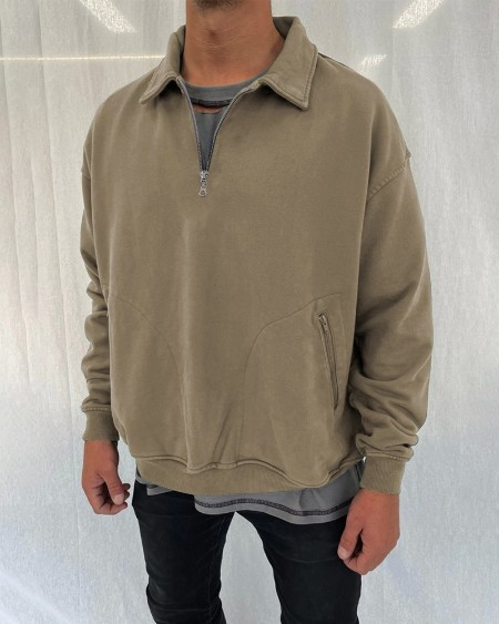 Solid Color Long Sleeve Polo Shirt