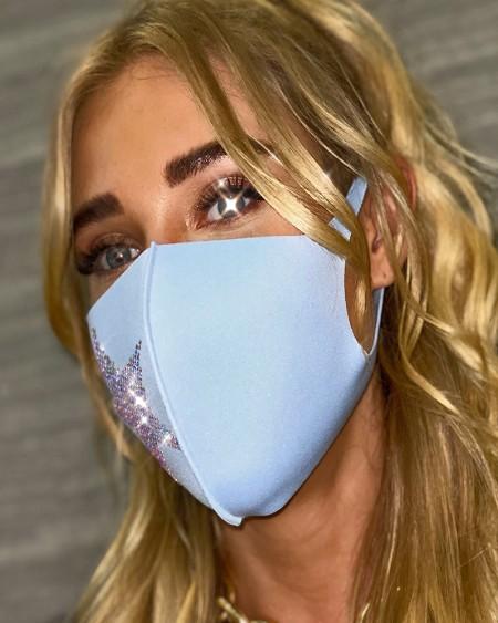 Star Pattern Rhinestone Decor Face Mask