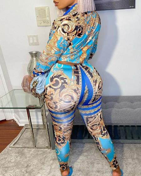 Scarf Print Long Sleeve Top & High Waist Pants Set