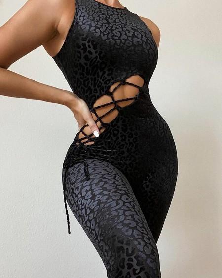 Leopard Print Sleeveless Lace-up Skinny Jumpsuit