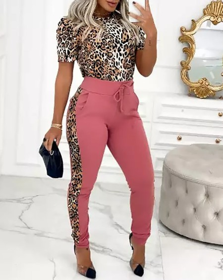 Cheetah Print Top & Colorblock Drawstring Pants Set