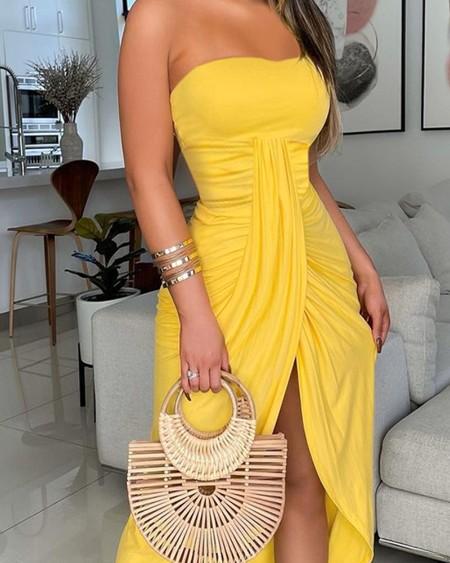Off Shoulder Plain High Slit Maxi Dress