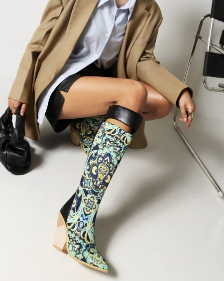 Womens Vintage Patchwork Cut-out Point Toe Long Boots