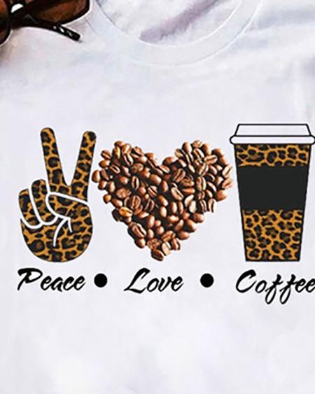 Heart Letter Slogan Print Short Sleeve Casual T-shirt