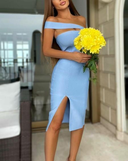 One Shoulder Cut-Out Split Thigh Skinny Dress