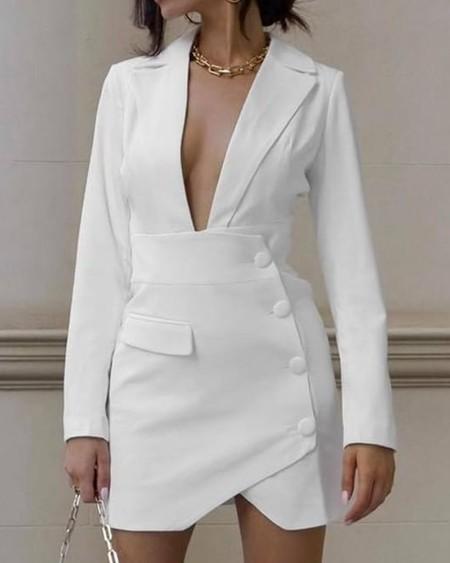 Plus Size Button Decor Plunge Blazer Dress