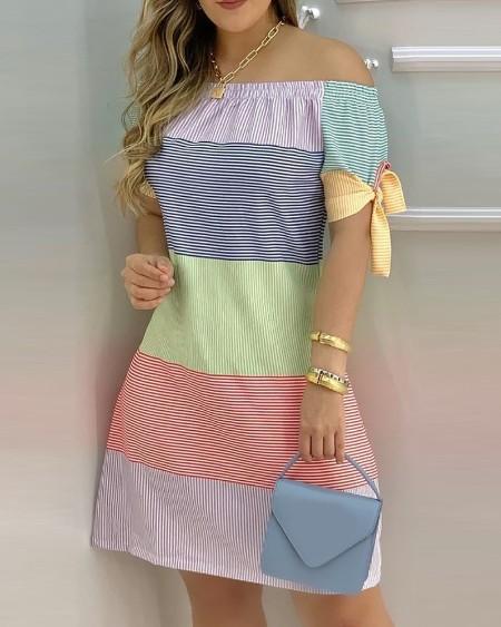 Striped Print Colorblock Off Shoulder Casual Dress