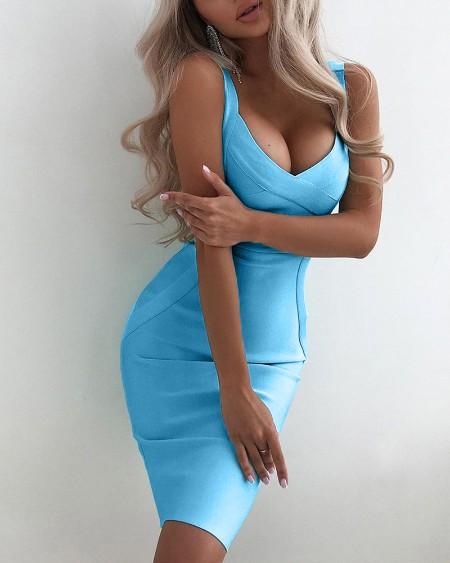 Solid Sleeveless Slim Mini Dress
