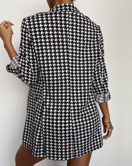 Grid Three Quarter Sleeve Coats Suit Sets