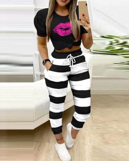 Mouth Print Top & Stripe Pocket Design Pants Sets