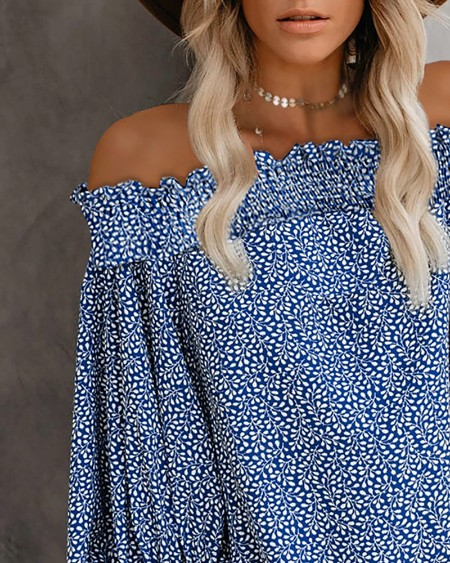 Off Shoulder Floral Print Lantern Sleeve Top