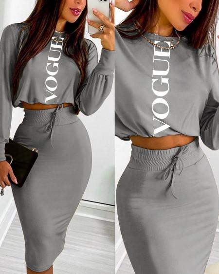 Letter Print Long Sleeve Top & Drawstring Shirred Skirt Set