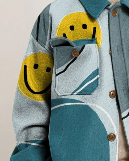 Mens Fashion Smile Emoj Print Long Sleeve Button Up Pocket Jacket