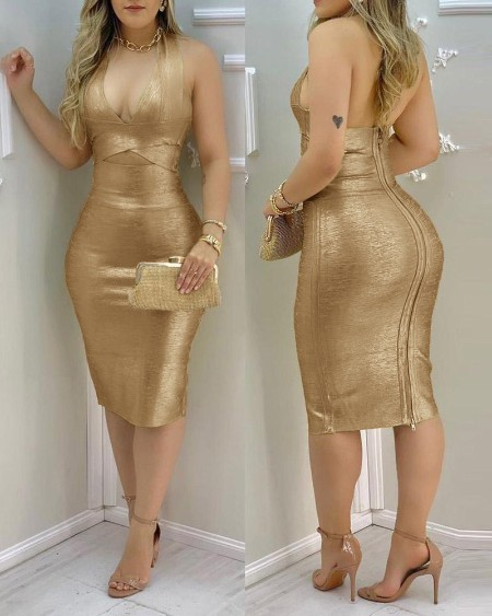 Halter  Zipper Design Cutout Backless Midi Dress