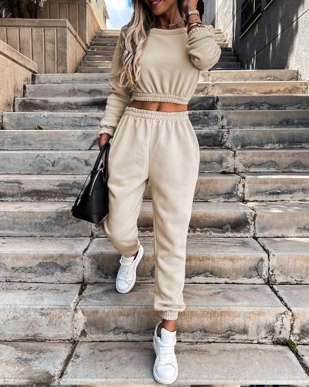 Long Sleeve Casual Top & Pocket Design Pants Set