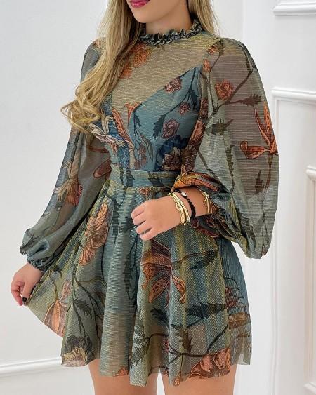 Floral Print Lantern Sleeve Frill Hem Mesh Dress