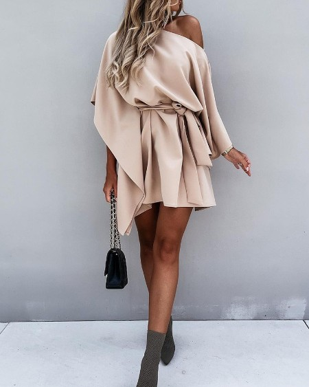 Skew Neck Pleated Lace Up Mini Dress