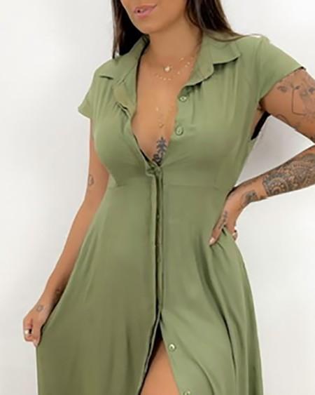 Button Front Short Sleeve Shirt Dress