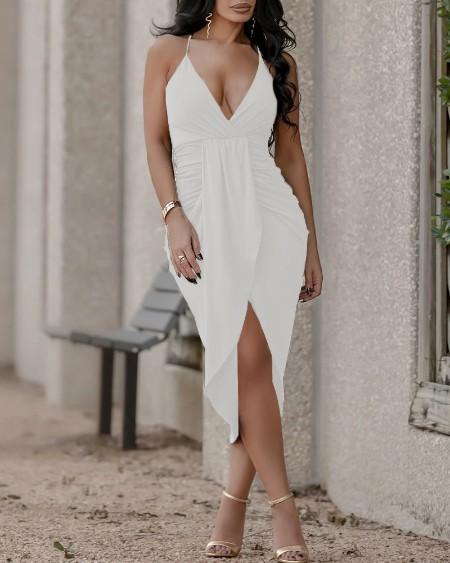 Crisscross Backless Ruched Asymmetrical Dress