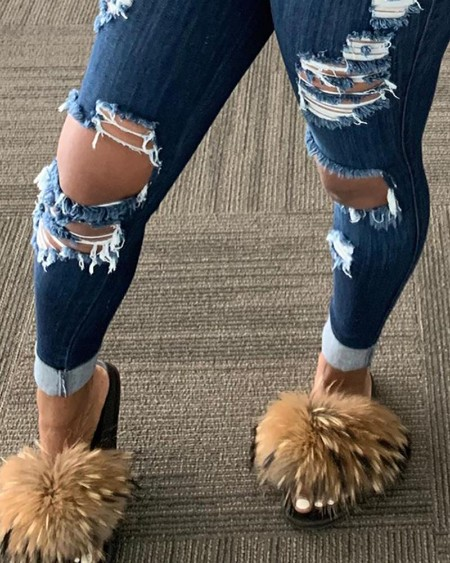 Ripped Cutout Skinny Jeans