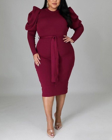 Plus Size Gigot Sleeve Belted Work Dress