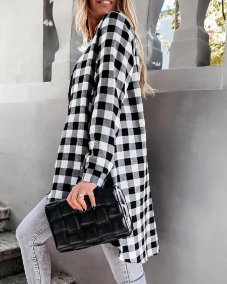 Blusa feminina xadrez de manga comprida solta com fenda