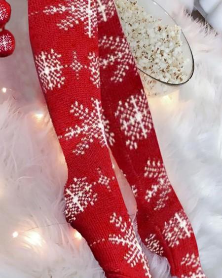 Christmas Snowflake Pom Pom Knee Length Socks