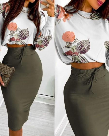 Floral Print Long Sleeve Crop Top & Drawstring Skirt Set