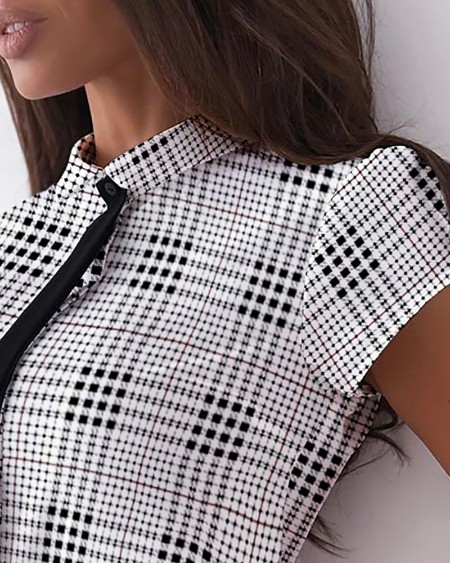 Plaid Print Short Sleeve Shirt With Tie Elegant Slim Buttoned Blouse